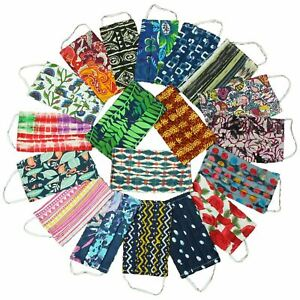 Handmade Face Mask 100% Cotton Lightweight Pleated Patterned Washable Coverings