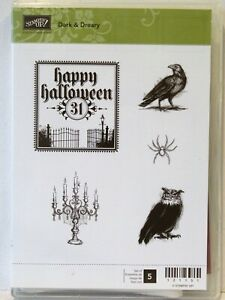 Stampin Up DARK AND DREARY Stamps Happy Halloween owl crow raven spider