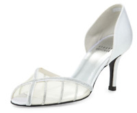 $575 size 8 Stuart Weitzman Radiance Silver Peep Toe Hell Sandals Wedding Shoes