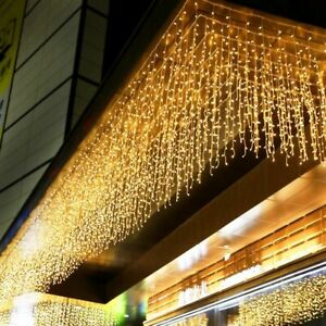 Christmas LED Curtain Icicle String Light Drop Party Garden Outdoor Waterproof