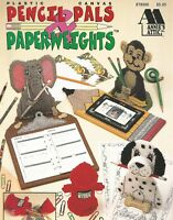 Pencil Pals & Paperweights Monkey Dog Lion Bear Plastic Canvas Pattern Booklet