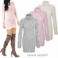 Ladies Womens Cable Knitted Polo Roll Neck Stretch Jumper Long Sleeve Dress