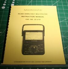 Instruction Manual for Radio Shack/Micronta 22-210 Analog Multimeter w/Extras