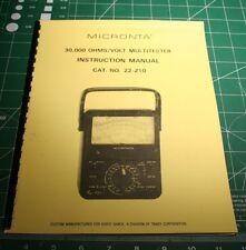 Instruction Manual for Radio Shack/Micronta 22-210 Analog Multimeter w/Extras