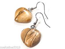 Bijoux Lithotérapie  boucles d'oreilles coeur  jaspe  pierre  earring