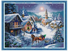 Dusk in the Snow Christmas Counted Cross Stitch Kit 14ct aida 53x41cm I Free P&P