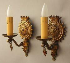 Pair 1920s Ornate Sconces Light Fits English Tudor Spanish Revival Gothic (8234)