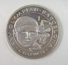 New listing Gibraltar Coin One Crown, 1991, Au-Unc, Barcelona Olympics, Wrestlers