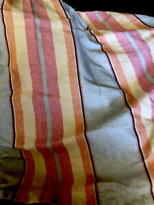 Ralph Lauren Queen Striped Grey Pink Blue Orange Striped Bedskirt 15 Inch Drop