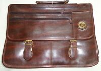 Roma Italy Logo Satchel Shoulder Man Bag Faux Leather Handle Strap Brief Case