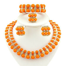 Orange 2 layers African Beads Necklace Earring bracelet ring Jewellery Set