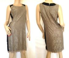 Heine@Kaleidoscope~ Taupe Lace Dress With Black Trim ~ Size 14 ~  RRP £89~ (R7)