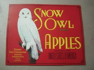 Wholesale Lot of 25 Old Vintage - SNOW OWL - Apple Crate LABELS - Yakima WA.