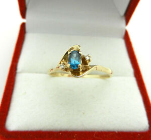 Vintage 10k Yellow Gold London Topaz Ring with Diamond Accent
