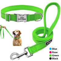 Nylon Custom Personalized Dog Collar Leash Engraved ID Name Tag Adjustable Blue