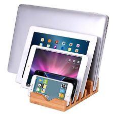 6 ranuras de Bambú Organizador de estación de carga para iPhone 6 6S iPad Mini Samsung S6 S