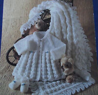 """KNITTING PATTERN - BABY'S SHAWL, MATINEE COAT & SHOES DK OR 4-PLY SIZE 14-18"""""""