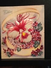 VINTAGE BIRTHDAY GREETING CARD PUFFED ORCHID AND VIOLETS IN BOX