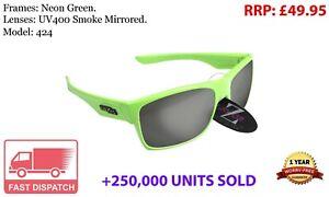 RayZor Green Sports Wrap Sunglasses Uv400 Smoked Mirrored Lens (424