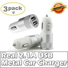 3pack Fast Life 2.1A/15W 2-Port Smart KO-20 Quick Charge Car Charger Silver Whit