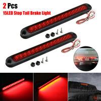 2PCS Red Sealed Trailer Truck+RV Stop Tail Rear Brake Turn Light Bar 25CM 15 LED