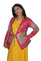 Indian 100% Sillk Women's Jacket Quilted Work Print Multi Color