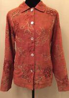 Mirasol Womens Jacket Sz Large Orange Button Down Long Sleeve Embellished Lined