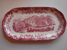 alte Platte, Royal Worcester, Avon Scenes Palissy, rot, 27x14cm