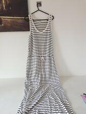 GAP jersey black and white striped dress, UK size M, 12 14 16 maxi vest style
