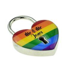 Personalised Rainbow Design Silver Love Padlock XNX005-001