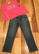 Gap Kids Girls Size 6 Outfit. Pink Gap Logo Shirt & Boyfriend Fit Jeans. Nwt