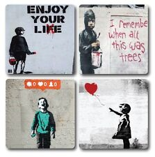 Banksy Inspired Coasters - Set of 4 - High quality compressed hardwood backed