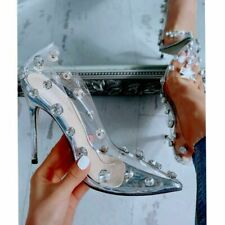 US 8 Womens Clear High Heels Rivet Transparent Stilettos Pointed Toe Pumps Shoes