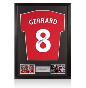 Framed Steven Gerrard Signed T-Shirt - Number 8 Autograph