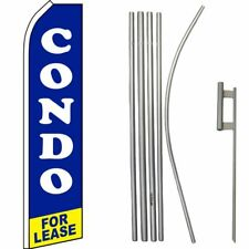 Condo For Lease Blue/White/Yellow Swooper Flag & 16ft Flagpole Kit/Ground Spike