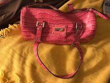 Guess  Pink  Patent Alligator Buckle Barrel Handbag  Purse