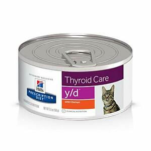 Hill's Prescription Diet Y/D Thyroid Care with Chicken Canned Cat Food 5oz 24...
