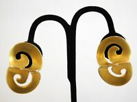 Vintage Clara NY Studio Scroll Clip On Earrings Couture Designer Goldtone Metal