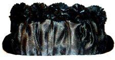 LUNAR black satin evening party clutch bag detachable chain strap RRP £25