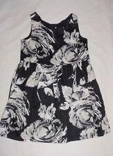 Nwt Gap Kids Girls Bright Blooms Black Gray & White Floral Dress Size Xs 4-5