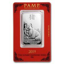 Lingot Suisse PAMP Cochon 1 Once argent / PAMP 1 Oz PIG 2019 Fine Silver Bar 999