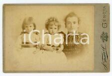 1894 GENOVA Bambine Nini e Nanà PERUZZI con la balia *Foto A. TESTA 17x11