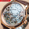 Mens Double Flywheel Leather Luxury Bling Skeleton Automatic Mechanical Watch