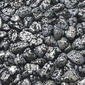 12 x Snowflake Obsidian Tumblestones 12mm-16mm A Grade Crystal Wholesale