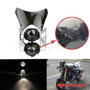 Dot Approved Dual Twin Motorcycles Headlight Fairing Screen For Honda Yamaha