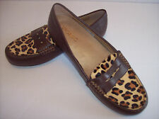 New VIONIC PIPER Women's brown leather/leopard flat loafer shoes US Sz 7.5M