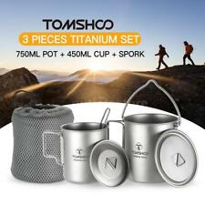 TOMSHOO Titanium 3 Pieces Camping Cookware Pot++Folding Spork Water Cup Mug T3M6
