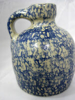 Jug Pitcher Creamer Art Pottery Sponge Wear Glazed Blue Tan 1992