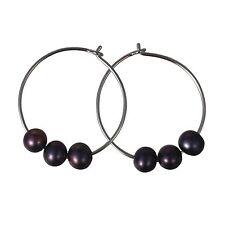 Circle of Life Black Pearl Hoop Earrings