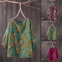 ZANZEA Women Round Neck Casual Cotton Blouse Summer Tops Shirts Kaftan Smock